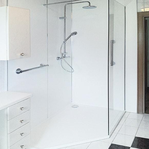 Dusche mit meheren Haltegriffen und Thermostatbrause