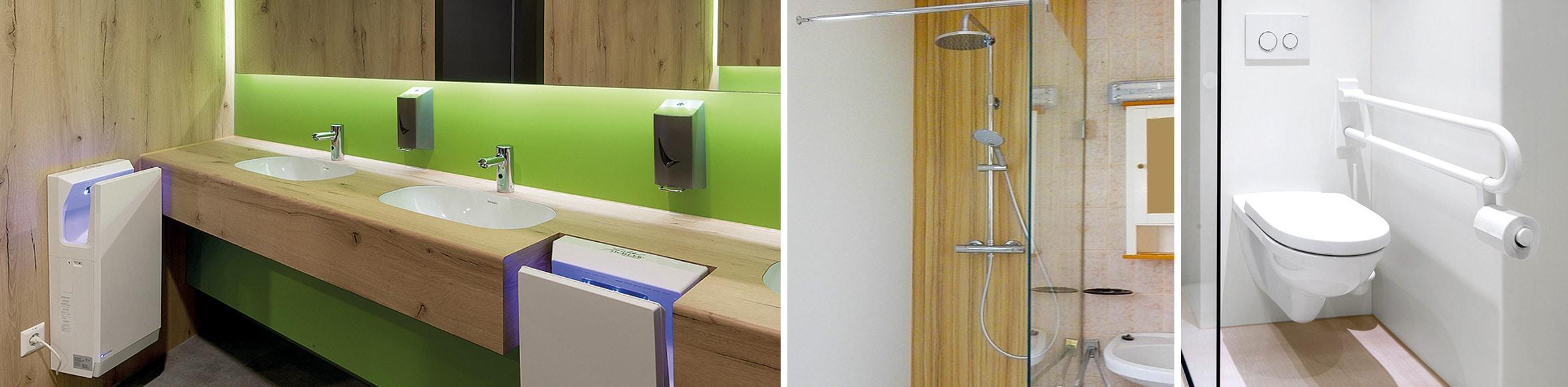Doppelwaschtisch mit Handtuchtrockner, Seifenspender, Dusche, WC