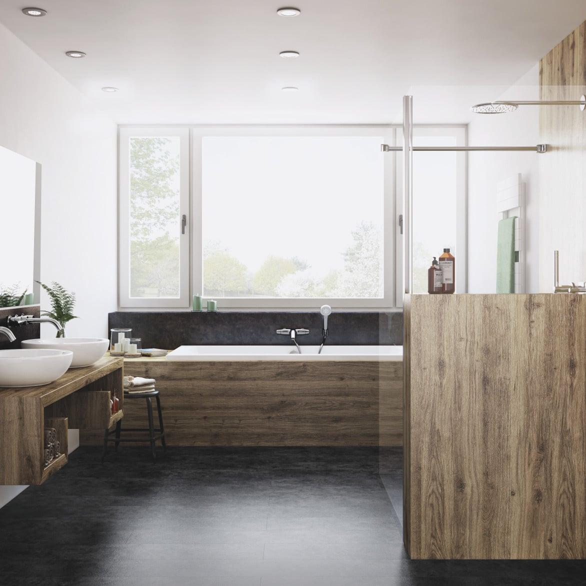 Bad mit barrierefreier Dusche mit fliesenloser Wand