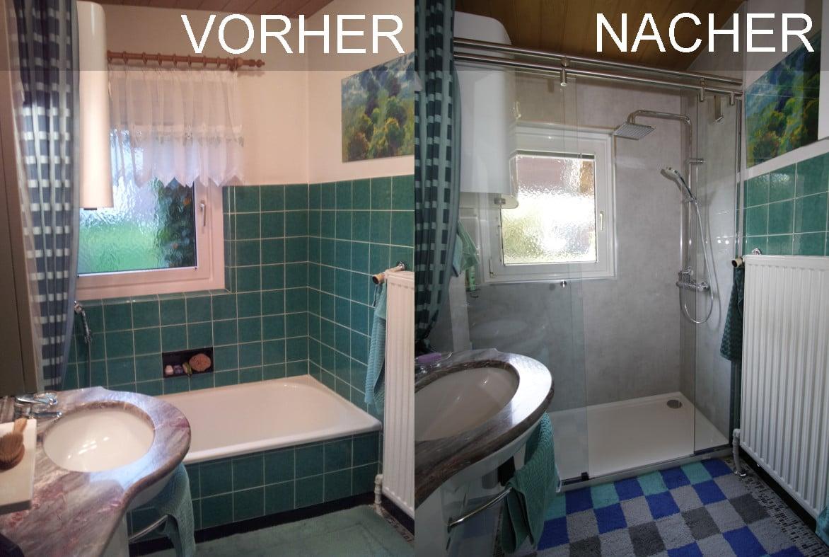 Dusche vorher nacher mit Schiebetür und Fensterausschnitt