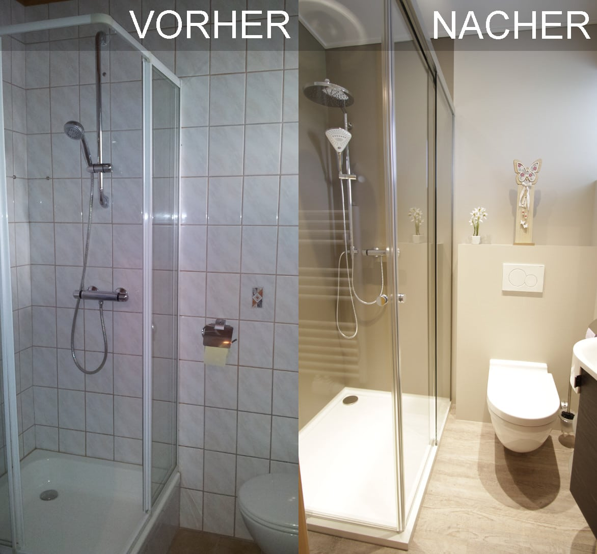 Vorher Nacher Bild einer Dusche mit Schiebetüren