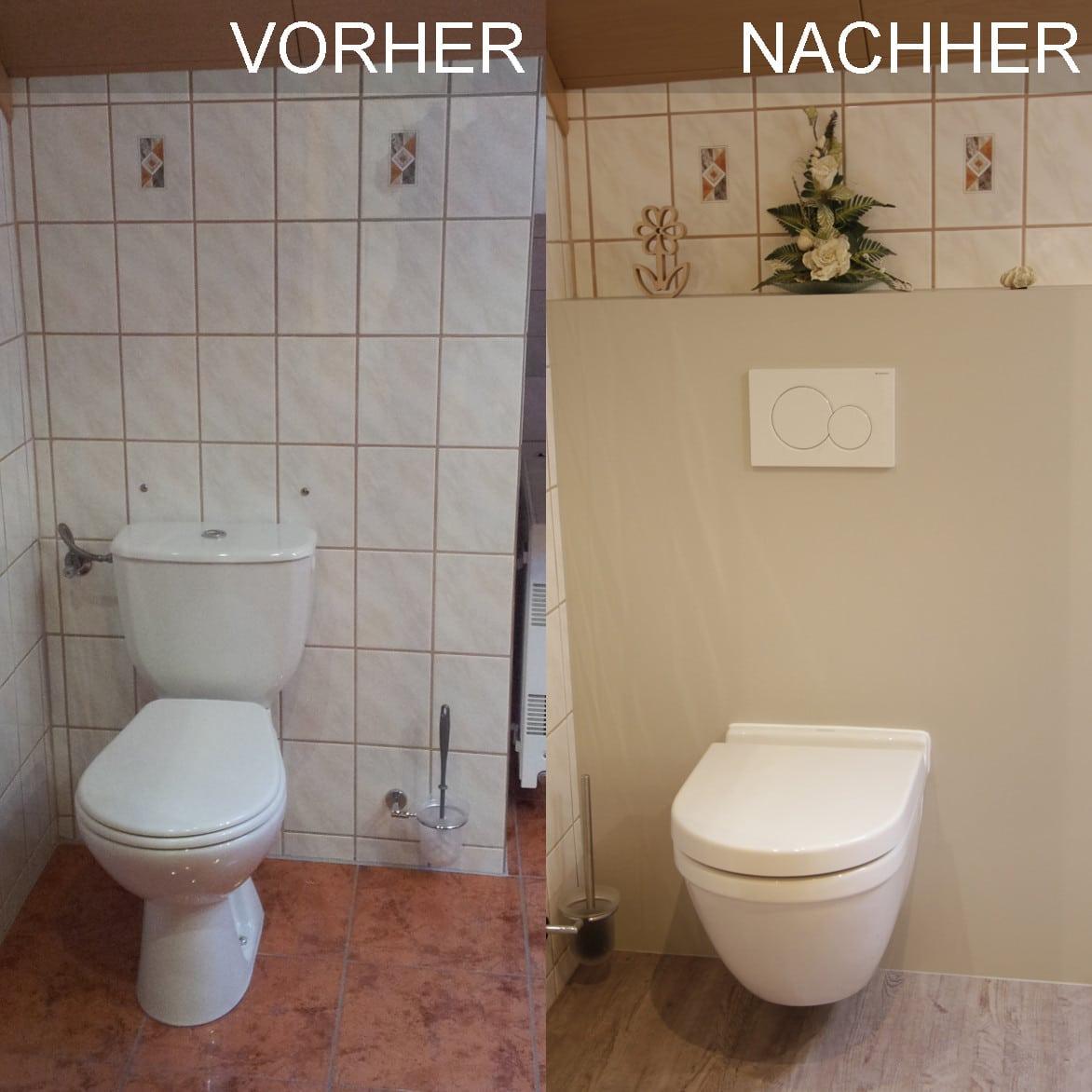WC vorher nachher mit verdecketem Spülkasten und Wandverkleidung