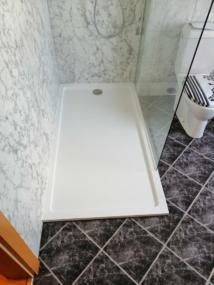 nachher Dusche mit Marmor Wandverkleidungsdekor